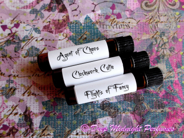 Steampunk Gals Perfume Sampler set of THREE VIALS - Victorian Perfume - Steampunk Perfume