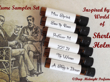 SHERLOCK HOLMES inspired PERFUME Sampler -  Set of Six  Sample Vials - Victorian Perfume